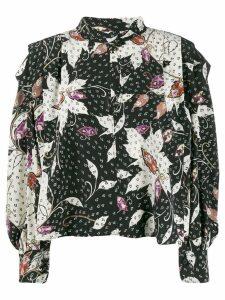 Isabel Marant keyhole printed blouse - Black