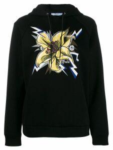 Prada Frankenstein lily print hoodie - Black