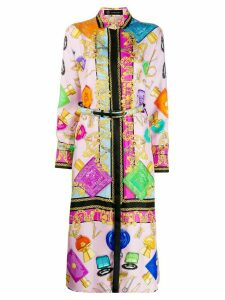 Versace belted cosmetic print dress - Pink