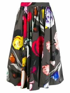 Prada rose-print midi skirt - Black