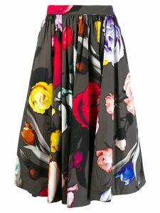 Prada rose-print midi skirt - Black