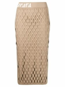 Fendi mesh-effect pencil skirt - Neutrals