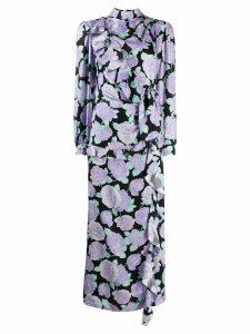 Miu Miu floral ruffled long dress - Purple