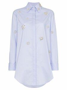 AREA embellished detail shirt dress - Blue