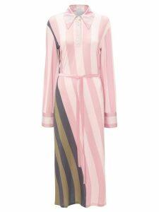 JW Anderson warped strip print polo dress - Pink