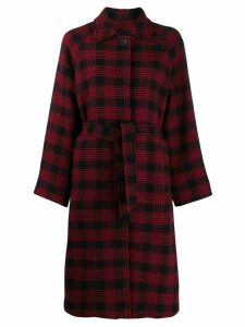 Red Valentino belted checked coat