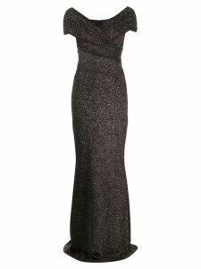 Talbot Runhof Tokara off shoulder maxi dress - Black