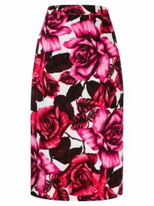 Prada rose print pencil skirt - Pink