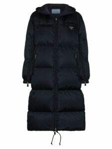 Prada hooded long puffer coat - Blue