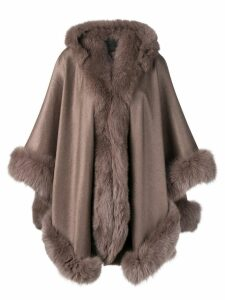 Liska hooded fur-trimmed coat - Brown