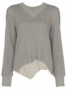 Blindness pearl appliqué sweatshirt - Grey