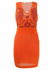 Roberto Cavalli embellished tube short dress - Orange