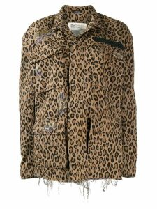R13 leopard print oversized jacket - Brown