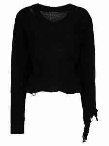 Blindness distressed V-neck wool jumper - Black