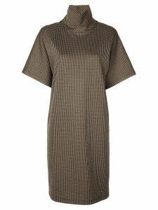 Rosetta Getty checked turtleneck dress - Brown