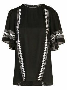 Derek Lam Embroidered Short Sleeve Georgette Blouse - Black