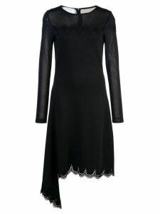 Oscar de la Renta round neck lace dress - Black