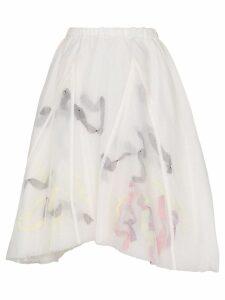 Susan Fang organza printed midi skirt - White