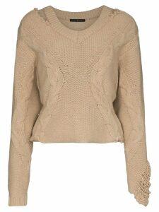 Blindness V-neck knitted jumper - Neutrals