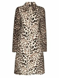 Prada leopard-print wool coat - Brown