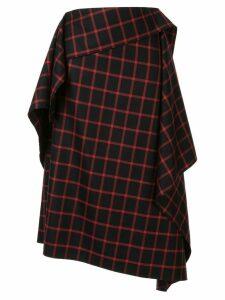 Maison Mihara Yasuhiro asymmetric check skirt - Black