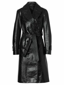Burberry D-ring Detail Crinkled Leather Trench Coat - Black