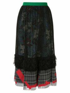 Kolor high-waisted pleated skirt - Black