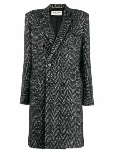 Saint Laurent herringbone double breasted coat - Black