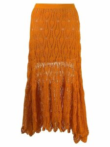 Loewe knitted over-the-knee skirt - 9100 ORANGE