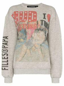 Filles A Papa wrestling-print sweatshirt - Grey