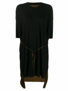Uma Wang contrast panel cashmere dress - Black
