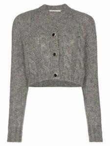 Alessandra Rich jewel-button cropped cardigan - Grey