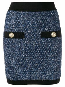 Balmain knitted button skirt - Blue