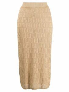 Fendi high-waist FF logo skirt - Neutrals