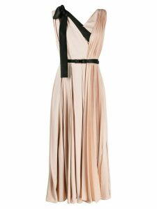 Prada contrast details pleated midi dress - Pink