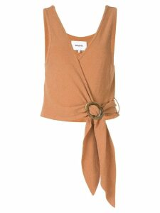 Nanushka terry knit wrap top - Brown