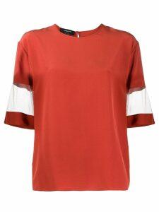 Rochas mesh-sleeve silk top - Orange
