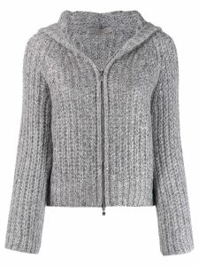 D.Exterior chunky knit jacket - Grey