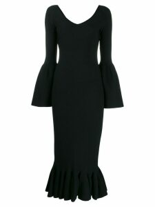 Stella McCartney flutted sleeve midi dress - Black