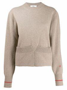 Victoria Beckham Mushroom sweatshirt with turn-up hem - Neutrals