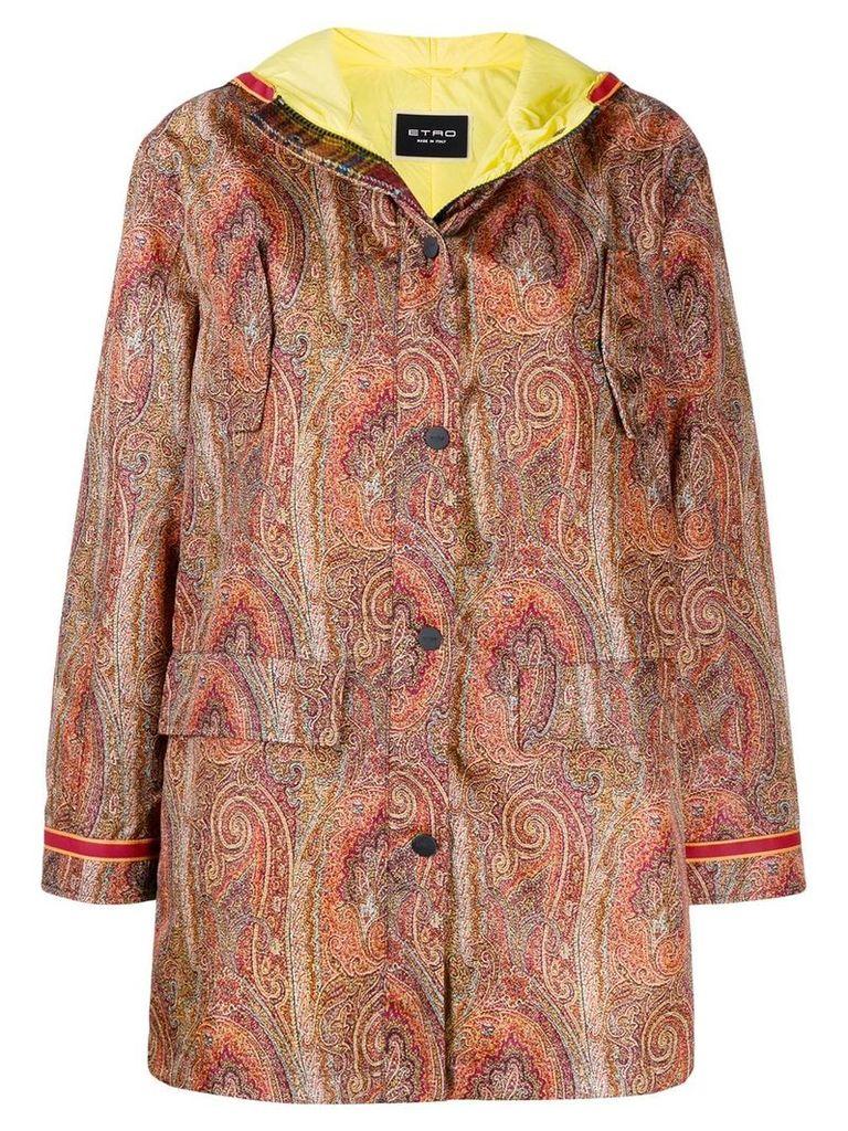 Etro Paisley printed parka coat - ORANGE
