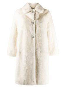 Miu Miu crystal button coat - White