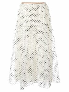 Tu es mon TRÉSOR Dot organdy tiered skirt - White