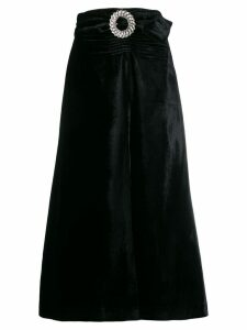Miu Miu crystal embellished buckle velvet skirt - Black