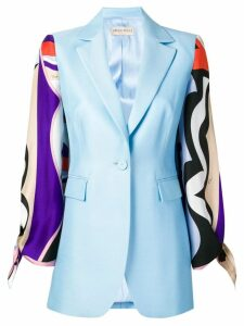 Emilio Pucci Vallauris Print Contrast Sleeve Blazer - Blue