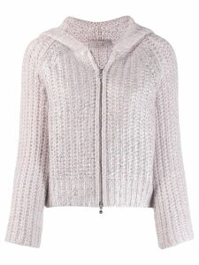 D.Exterior chunky knit jacket - Pink