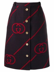 Gucci interlocking G reversible wool skirt - Red