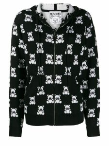 Moschino teddy bear zipped hooded jacket - Black