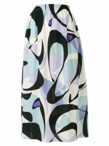 Emilio Pucci Alex Print Silk Midi Skirt - Blue