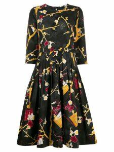 Samantha Sung silk abstract-print dress - Black